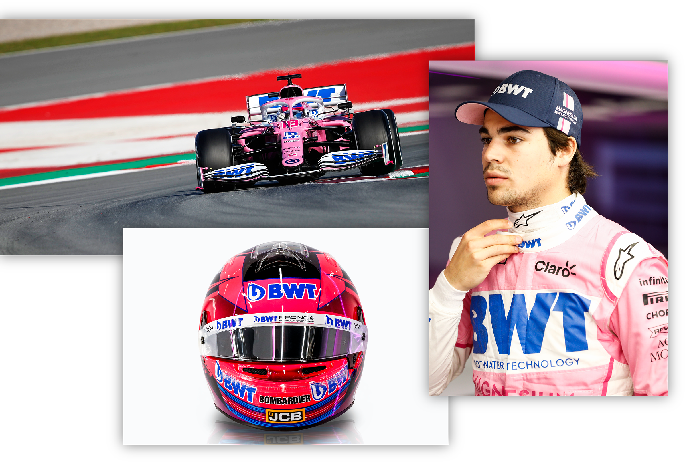 formula one driver and car with BWT logo