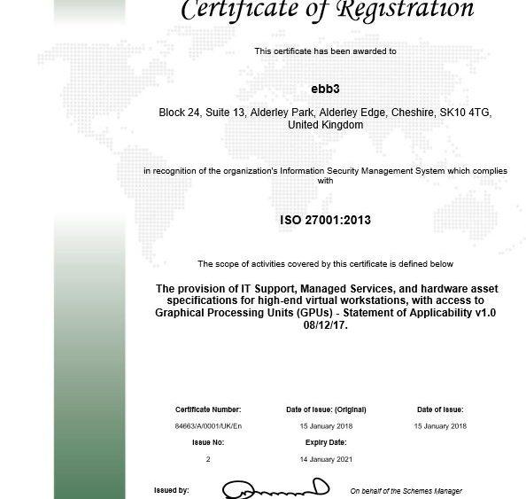 ebb3's ISO 27001: 2013 certificate