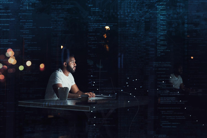 man working on a virtual desktop